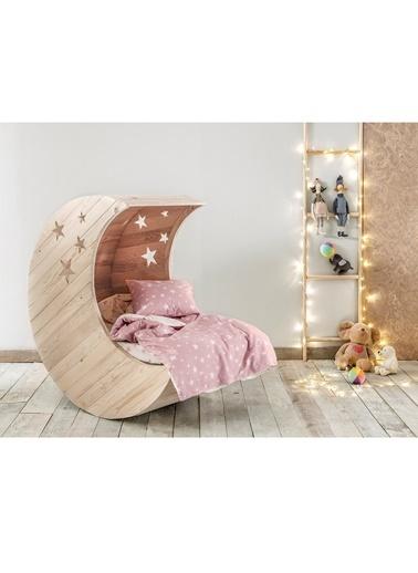 Hibboux 100x150 Star Bebek Nevresim + Yastık Kılıfı - Rose Renkli